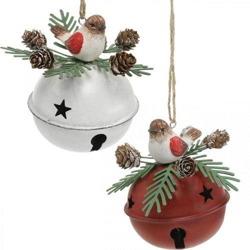 Glocken mit Rotkehlchen, Vogeldeko, Winter, Deko-Glocken für Weihnachten Weiß/Rot Ø9cm H10cm 2er-Set