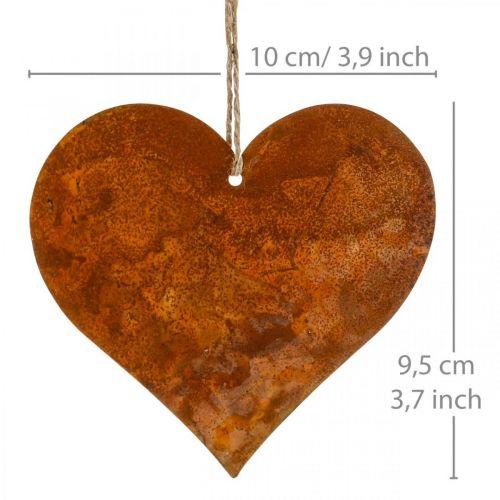 Herzen zum Hängen Herbst Metalldeko Edelrost 9,5×10cm 12St