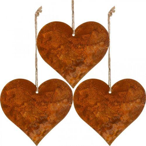 Herzen zum Hängen, Herbst, Metalldeko Edelrost 9,5×10×cm 12St