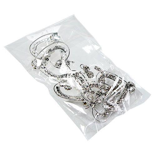 Metallherzen Silber 3cm 6St