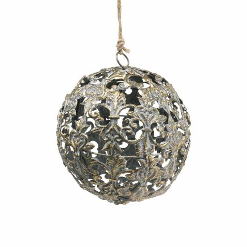 Kugel zum Hängen mit Ornamenten Antik-Optik Golden Metall Ø12cm