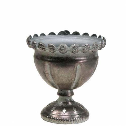 Deko-Pokal Metall Grau, Silber Ø13cm H14,5cm