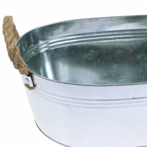 Pflanzgefäß Zinkwanne mit Jutegriffen Silber 34,5cm H11,5cm