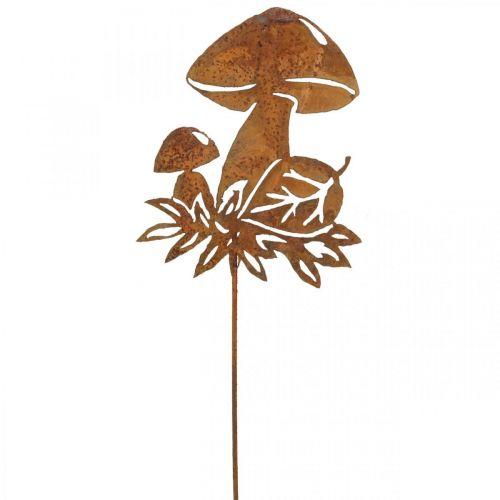 Dekostecker-Pilz, Herbstdeko, Metallstecker Edelrost 40cm