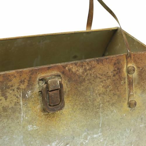 Pflanzgefäß Tasche Metall Grau / Rost H16cm