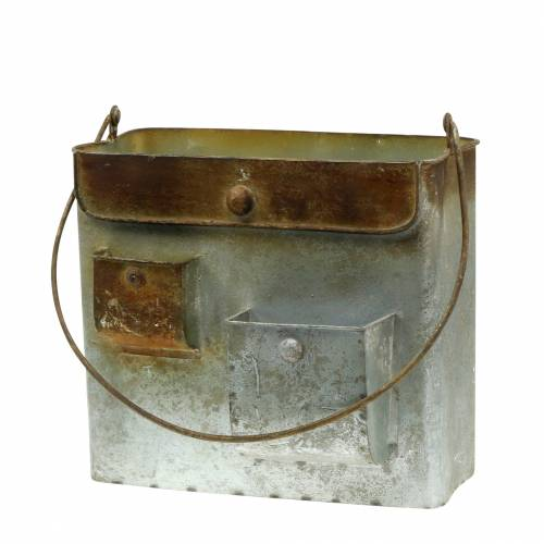Pflanzgefäß Tasche Metall Grau/Rost H20cm