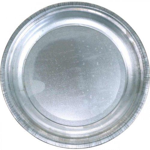 Deko-Teller, Gesteckunterlage, Metallteller Silbern, Tischdeko Ø26cm