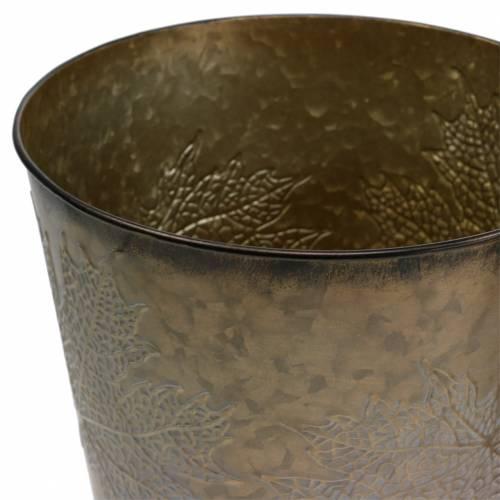 Deko Pflanztopf mit Blättern Zink Metallic Grau, Orange, Braun Ø17cm H14,5cm 3St
