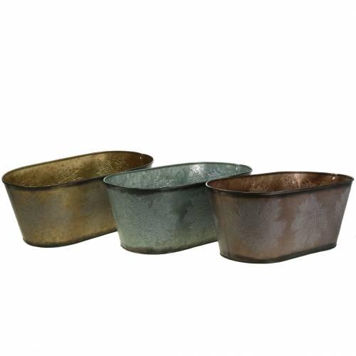 Deko Pflanztopf mit Blättern oval Zink Metallic Grau, Orange, Braun 38×20cm H15cm 3St