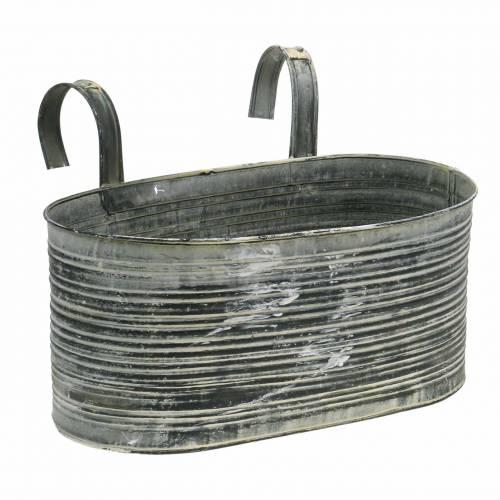 Pflanzschale Zinktopf oval zum Hängen Antik Creme 30×16,5cm H14,5cm