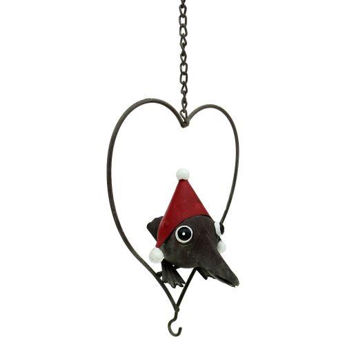 Vogel im Herz Deko-Hänger Metall Grau 48cm