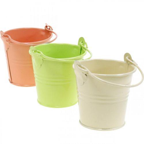 Mini Blecheimer Pastellfarben Sortiert Sommerdeko Ø6cm H7cm 12St