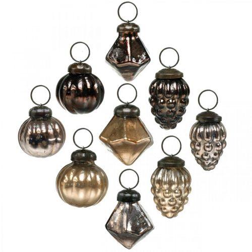 Mini-Weihnachtskugeln, Diamant/Kugel/Zapfen, Glasanhänger-Mix Antik-Optik Ø3–3,5cm H4,5–5,5cm 9St