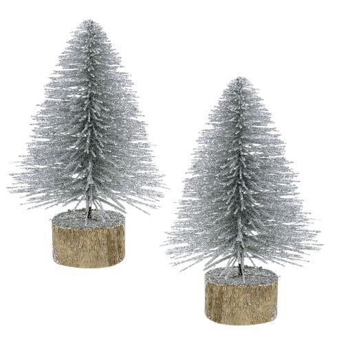 Weihnachtsdeko Lila Silber.Weihnachtsdeko Tannenbaum Silber Mit Glitzer 6st