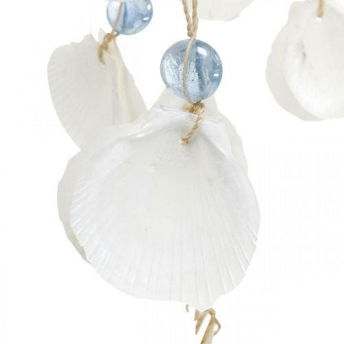 Mobile Muscheln Windspiel Maritime Deko zum Hängen Weiß, Blau 46cm
