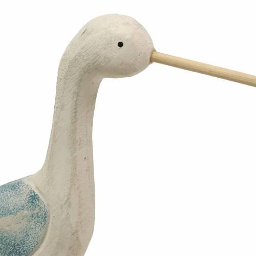 Watvogel Holz Weiß Blau 21,5x5,5cm H37cm