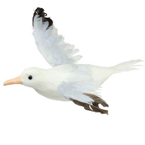 Möwe fliegend mit Federn 50cm