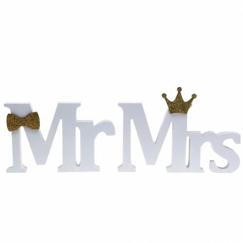 Deko-Buchstaben Mr & Mrs Holz Weiß, Gold Sortiert H11/13,cm 4er Set