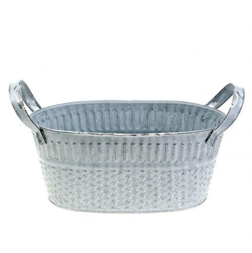 Zinkschale Oval mit Flechtmuster Grau, Weiß gewaschen 22cm H9cm
