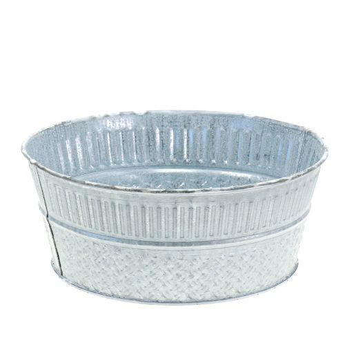 Zinkschale mit Flechtmuster Grau, Weiß gewaschen Ø21cm H8,5cm