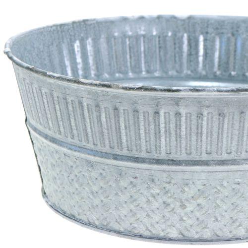 Zinkschale mit Flechtmuster Grau, Weiß gewaschen Ø23cm H10cm