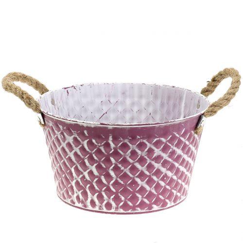 Zinkschale Raute mit Seilgriffen Violett weiß gewaschen Ø24,5cm H14cm