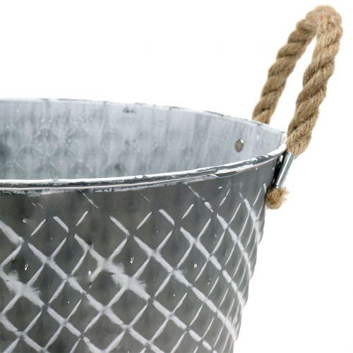 Zinkschale Raute mit Seilgriffen Grau Ø28cm H16cm