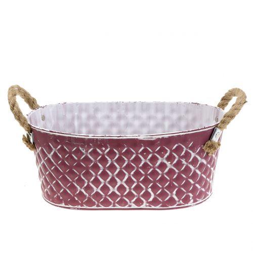 Zinkschale Oval Raute mit Seilgriffen Violett weiß gewaschen 24cm H10cm
