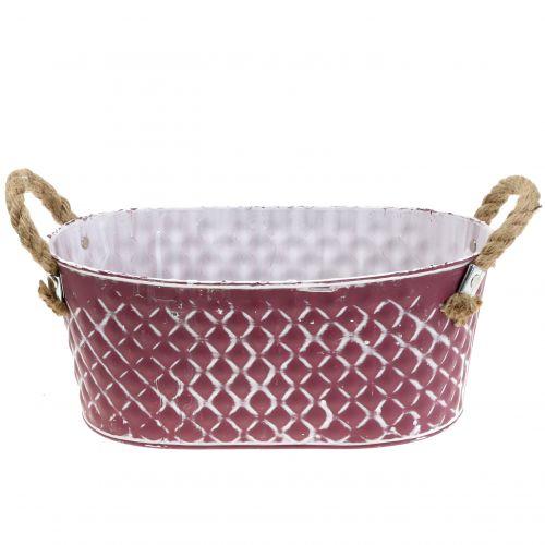 Zinkschale Oval Raute mit Seilgriffen Violett weiß gewaschen 29cm H12cm
