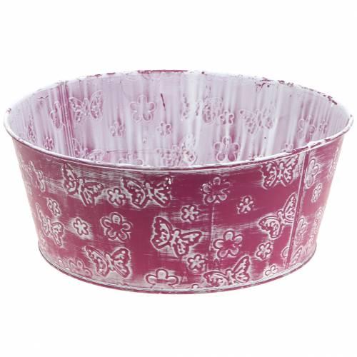Zinkschale mit Schmetterlingen Pink, Weiß gewaschen Ø25cm H10cm