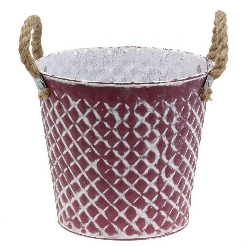 Zinktopf Raute mit Seilgriffen Violett, Weiß gewaschen Ø21cm H19cm