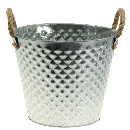 Zinktopf Raute mit Seilgriffen weiß gewaschen Ø24,5cm H21cm