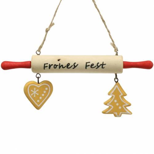 """Weihnachten Dekoration Nudelholz """"Frohes Fest"""" zum Hängen 16cm 4St"""