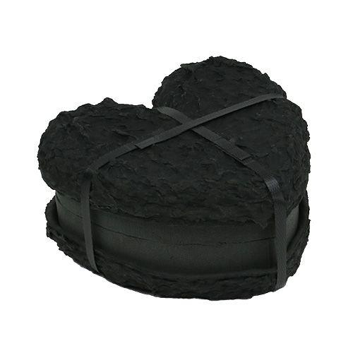 Steckschaum Herz Schwarz 17cm 2St Hochzeitsdeko