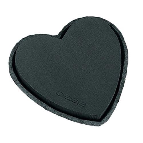 Steckschaum Herz Schwarz 25,5cm 2St