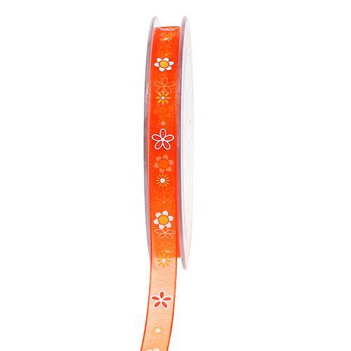 Organzaband Orange mit Muster 10mm 20m