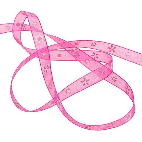Organzaband Pink mit Muster 10mm 20m