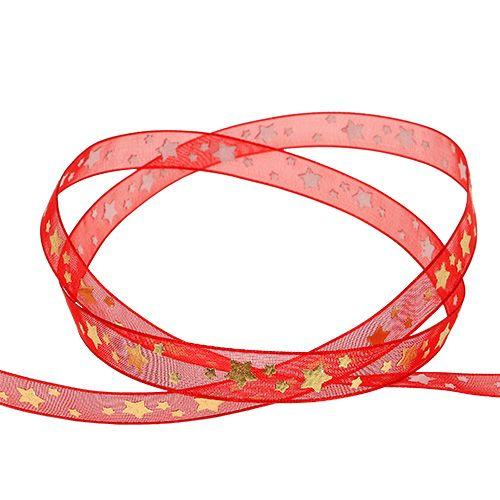 Organzaband Rot mit Sternen 10mm 20m