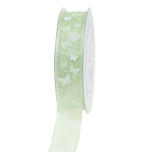 Organzaband mit Schmetterling Grün 25mm 20m