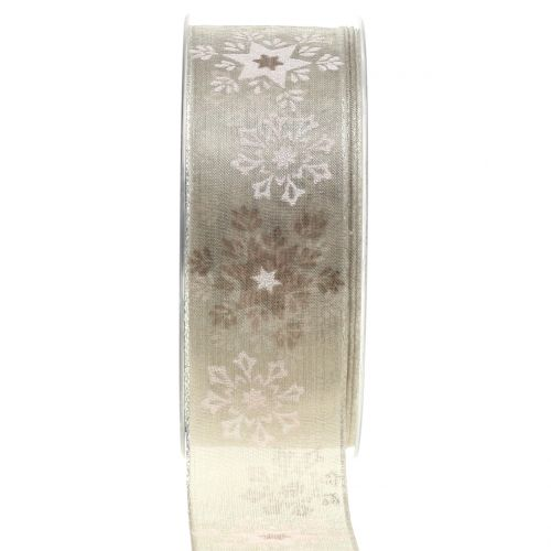 Weihnachtsband Organza mit Schneeflocken Natur 40mm 20m