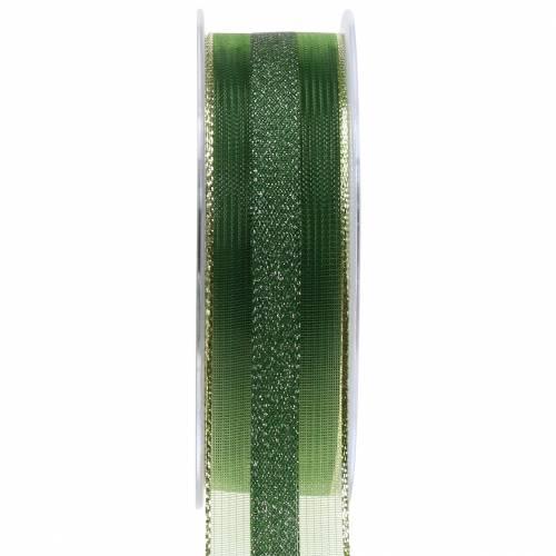 Organzaband mit Streifen-Muster Grün 25mm 20m