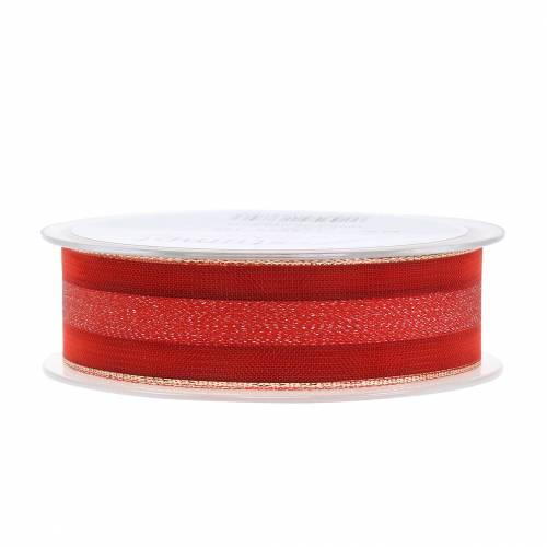 Organzaband mit Streifen-Muster Rot 25mm 20m