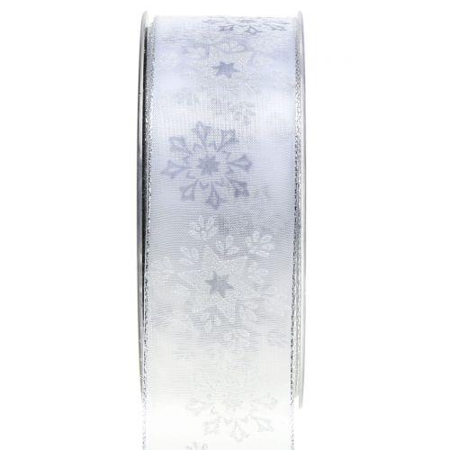 Weihnachtsband Organza mit Schneeflocken Weiß 40mm 20m