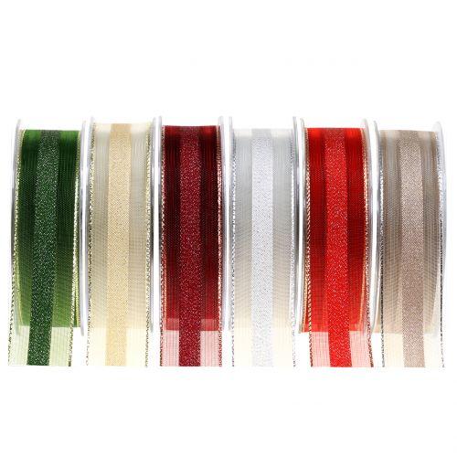 Organzaband mit Streifen-Muster 25mm 20m