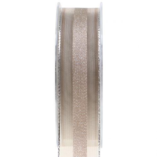 Organzaband mit Streifen-Muster Braun 25mm 20m