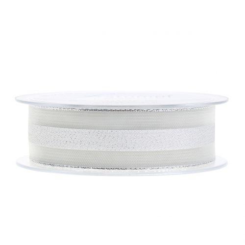 Organzaband mit Streifen-Muster Weiß 25mm 20m
