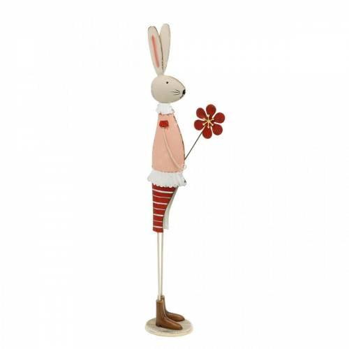 Osterdeko aus Metall, Frühling, Osterhase mit Blume, Deko-Hase 44cm