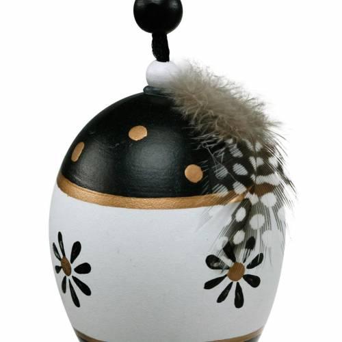 Osterei zum Hängen Schwarz, Weiß Osterdeko Ei mit Feder 6St