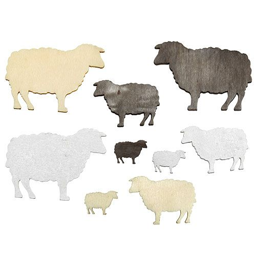 Streudeko Schafe sortiert 2cm - 6cm Holz 90St