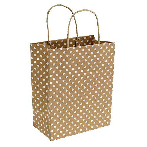 Papiertasche mit Punkten Natur 25cm x 33cm 6St